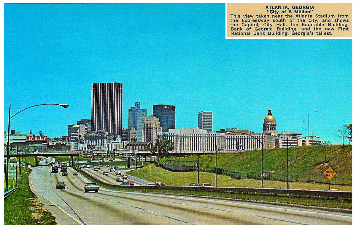 Postcard of Atlanta from 1966 (Depicts a sparse skyline compared to the present.)