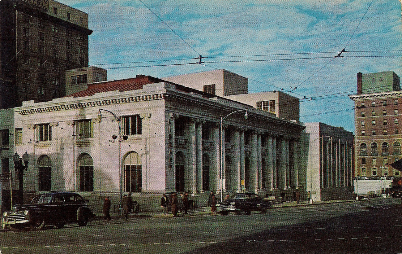 Main branch downtown library postcard (front)
